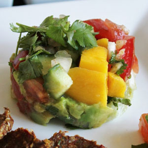 Mango Salsa and Guacamole with Tomato Onion Tortillas