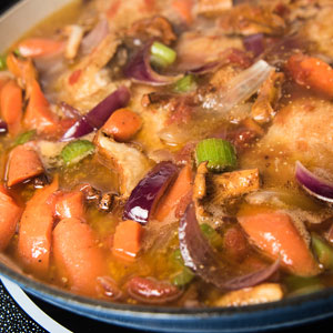 Chicken Stew with Red Onions and Carrots