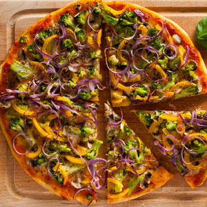 Rainbow Vegetable Pizza