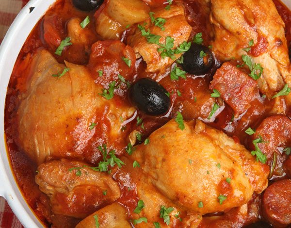Chicken Stew with Olives and Red Wine