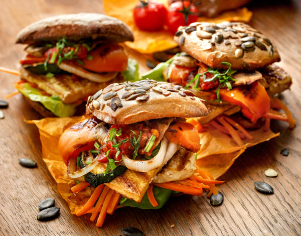 Marinated Tofu and Grilled Veggie Sandwiches