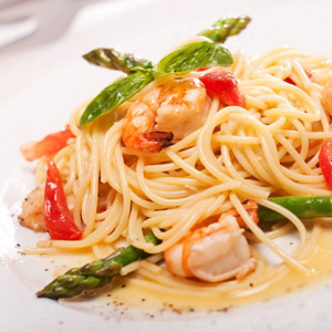 Spaghetti with Shrimp and Asparagus