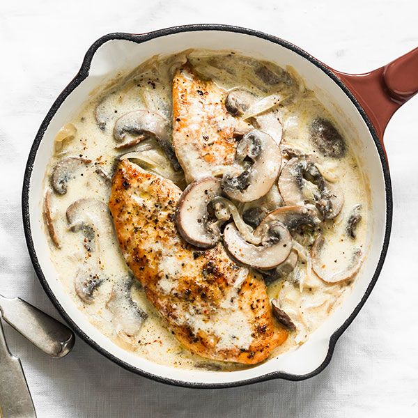 Creamy Chicken Breasts with Onions and Mushrooms