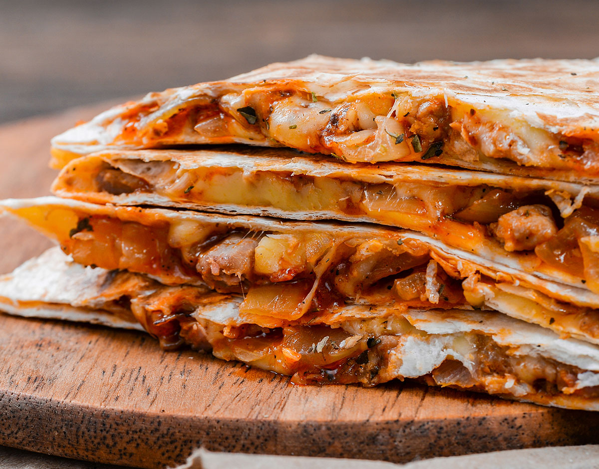 BBQ Chicken Quesadillas with Caramelized Onions