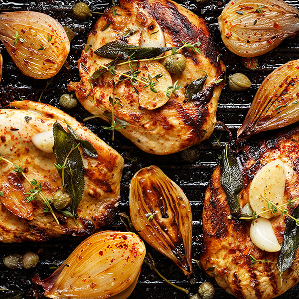 Tangy Grilled Chicken and Shallots